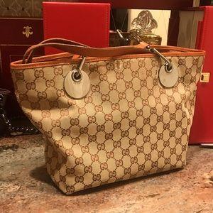 Gucci canvas monogram tote shoulder bag